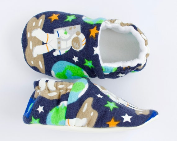 Baby boy glow in the dark space man booties, crib shoe, soft sole shoe