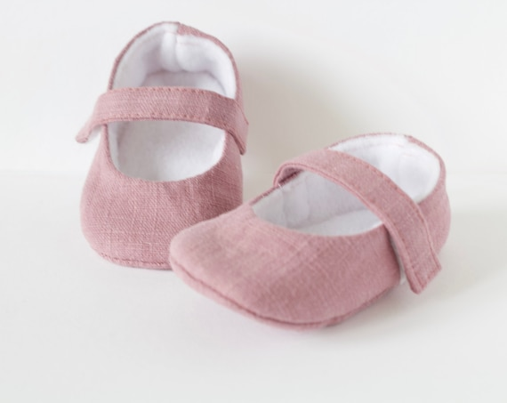 Baby shoes, baby girl shoes, Pink linen shoes, baby Mary Jane, Dusky pink baby shoe,  Mary Jane girls shoe.