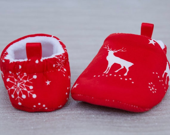 Baby shoes, Christmas shoes, baby girls shoe, baby boys shoe, Christmas baby shoe, stag, red shoe.