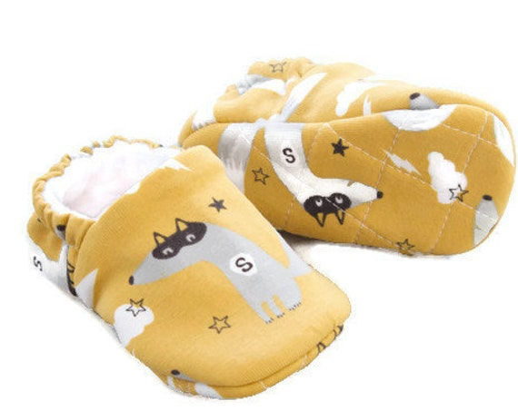 Baby Shoes, baby boys shoe, fox shoes, jersey baby shoes with super fox print, mustard and grey shoes. with quilted soles
