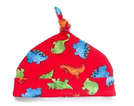 Baby hat, soft baby hat, jersey dinosaur hat, top knot baby hat. red dinosaur baby hat.