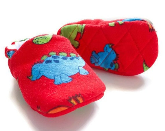 Baby Shoes, baby boys shoe, red dinosaur shoes, jersey baby shoes with dinosaur print, red, green and blue shoes. with quilted soles