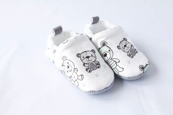 Baby shoes, baby shoes boys, baby boys shoes, grey shoes, Grey and white teddy bear baby boys shoes for toddlers and pre walkers.