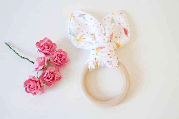 Bunny ear Teether, White cotton with feather print, soft terry towelling on reverse.