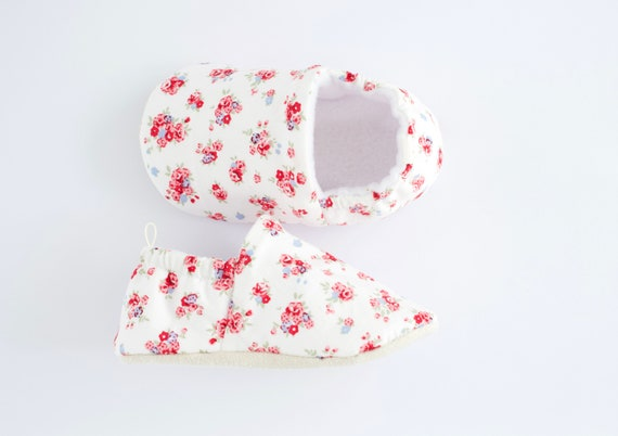 Ditsy flowers cotton Baby Girl Shoes Hand Made In England
