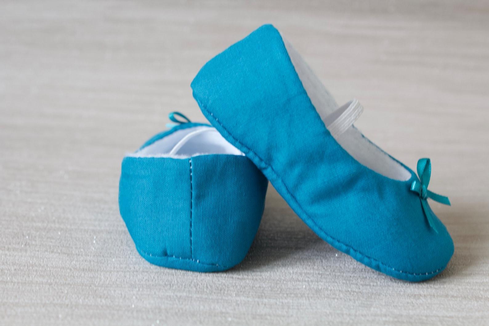 baby girl shoe, baby shoe ballet flat, teal blue baby girl shoe, girls cotton shoe, baby ballet flat.