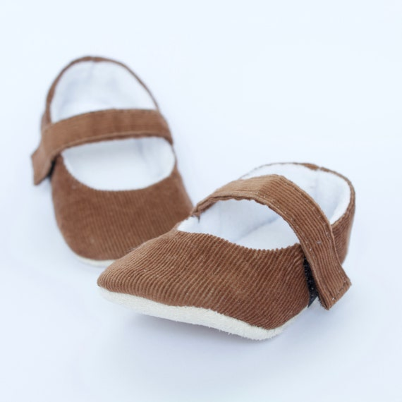 brown/Tan  soft cotton cord MaryJane pre walker and toddler shoes