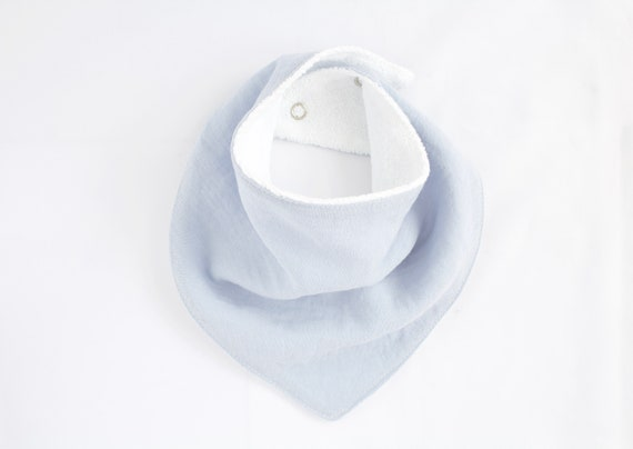 Baby blue cotton/linen mix bandanna bib lined with terry towelling