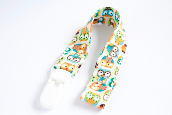 colourful owls dummy clip/ pacifier clip