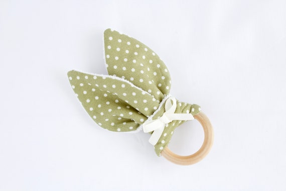 Bunny ear Teether, Olive Green with White spots