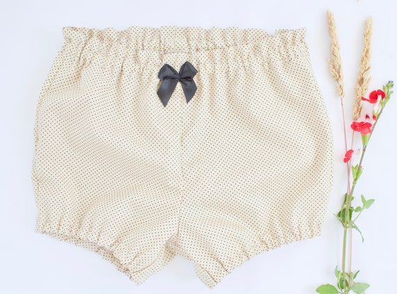 Baby Bloomers/nappy cover/ puff pants/ diaper cover, Beige with little black dots and black satin bow