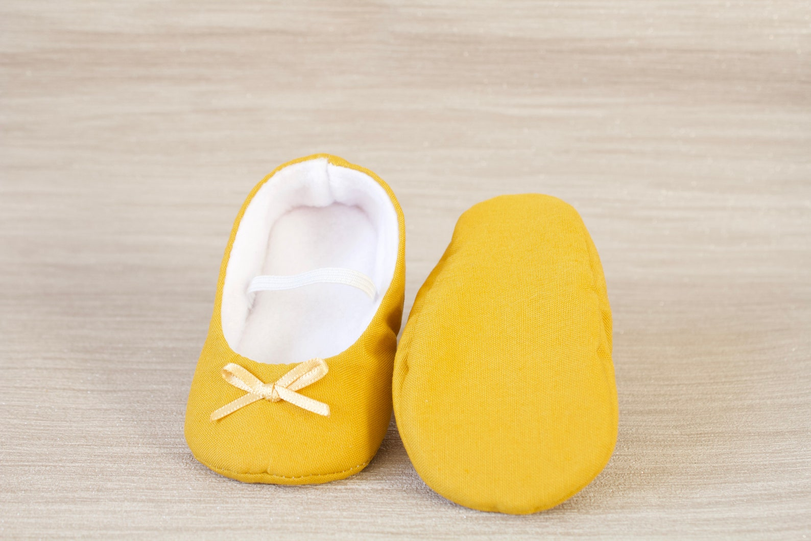 baby girl shoe, baby shoe ballet flat, mustard baby girl shoe, girls shoe, baby ballet flat with mustard satin bow