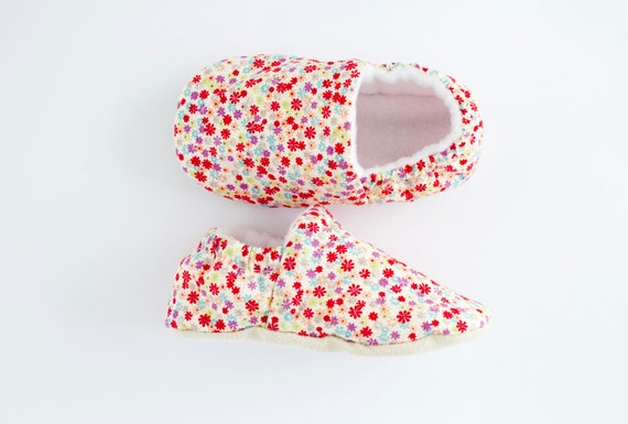 Bright little florals, cotton Baby Girl Shoes Hand Made In England