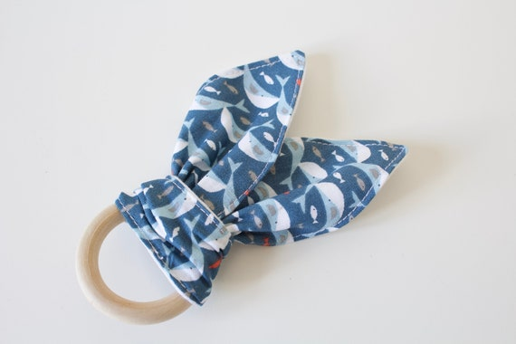 Bunny ear Teether, Blue whale cotton print teething ring with white cotton jersey on reverse.
