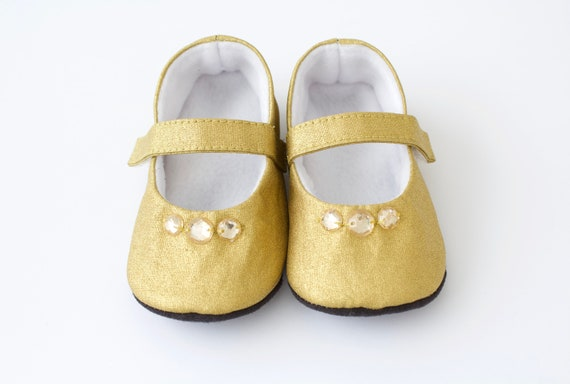 Baby shoes baby girl shoes Gold shoes