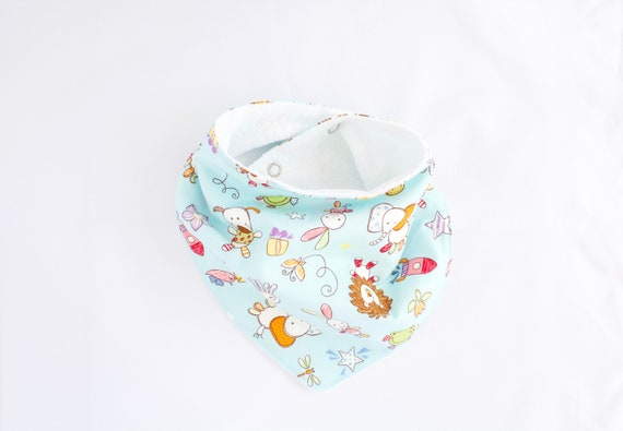 Cotton toy animal bandanna bib lined with terry towelling