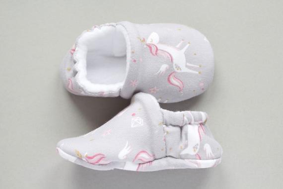 Baby shoe, Baby girls shoe, Grey soft jersey fabric unicorn print shoe with soft fleece lining. baby shower gift idea.