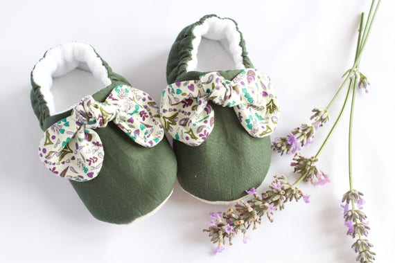 Baby Girls green and lilac knotted bow, soft sole pre walker and toddler shoes