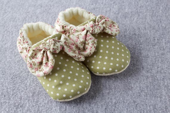 Country Bumpkin, soft sole baby girls shoes with ditsy florals and little spots