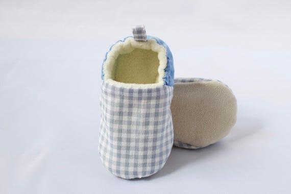 Baby blue gingham moccs, soft sole shoes, crib shoe