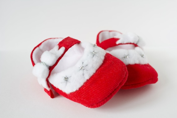 Baby Girls shoes, baby shoes, red girls shoe, red baby shoe, red santa baby shoe, red corduroy mary jane baby shoe,