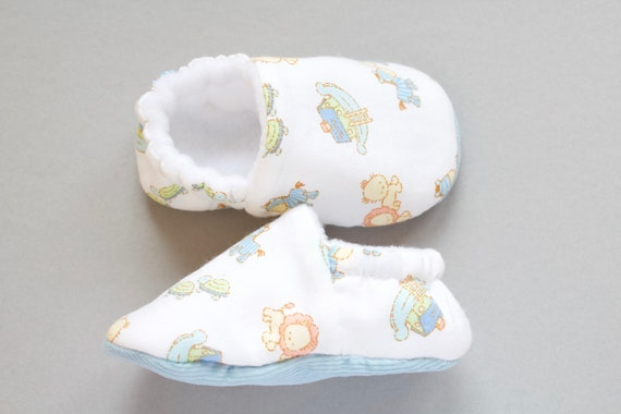 Baby boys shoe, baby shoe, cotton Noahs ark print shoe with blue corduroy sole, baby shower gift.