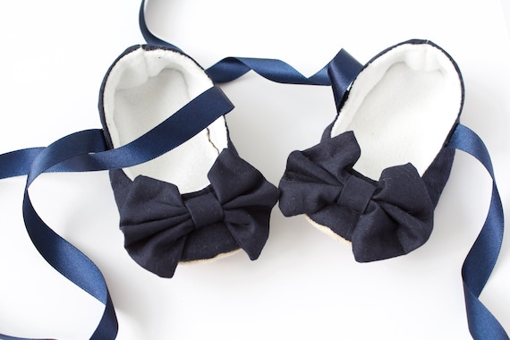 Baby shoe, baby girls shoe, baby shoe girls, navy blue ballet flats with large bow and satin ribbon ties.
