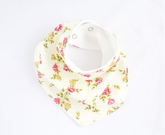 Cotton Floral bandanna bib lined with terry towelling