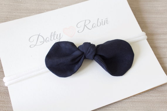 Headbands, hair bows, baby headbands, girls headband, Navy bow headband, nylon stretch headband newborn -  adult size