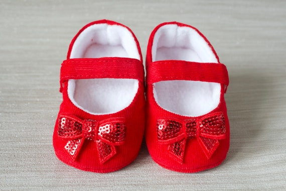 Baby Girls shoes, baby shoes, red girls shoe, red baby shoe, red mary jane with sequin bow, red corduroy, Christmas baby shoe.