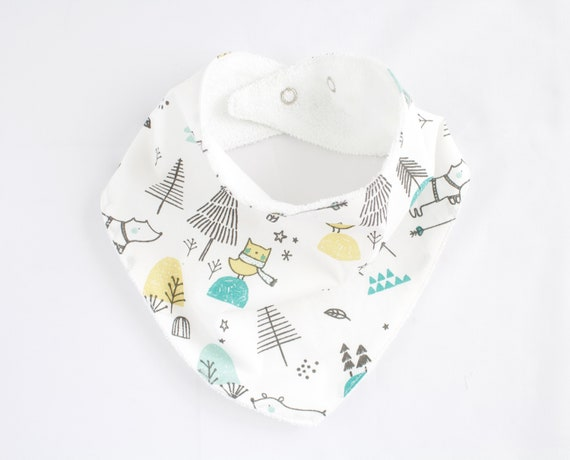 Cotton winter wonderland bandanna bib lined with terry towelling