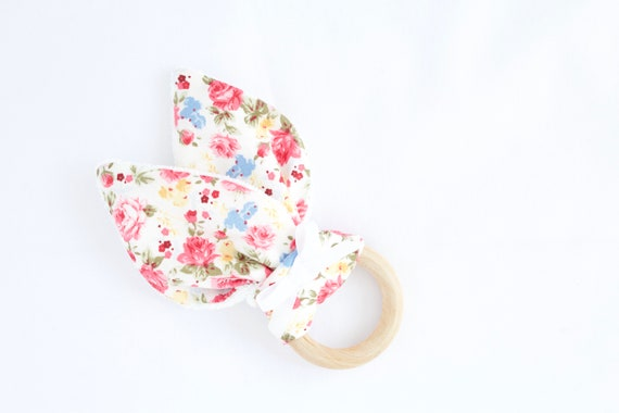 Bunny ear Teether, Pink and blue ditsy flowers