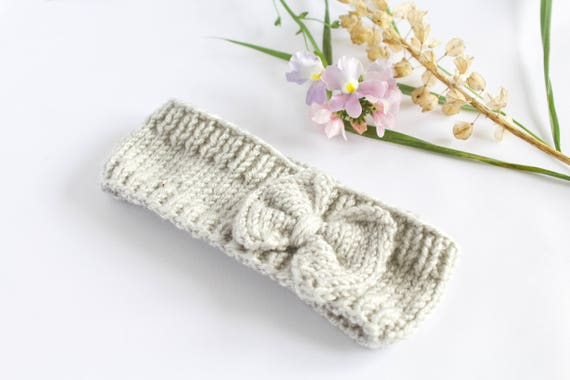 Grey knitted baby headband, perfect for the winter months ahead