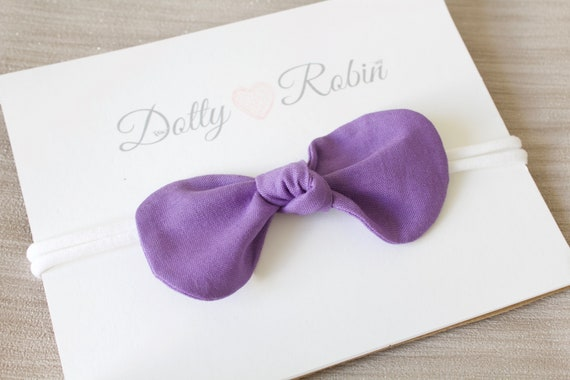 Headbands, hair bows, baby headbands, girls headband, Purple bow headband, nylon stretch headband newborn -  adult size