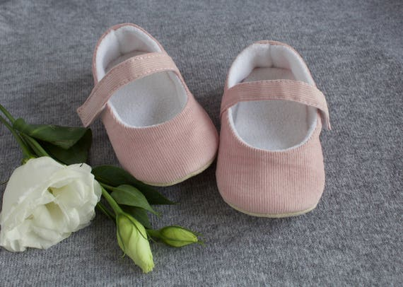 Baby pink soft cotton cord MaryJane pre walker and toddler shoes