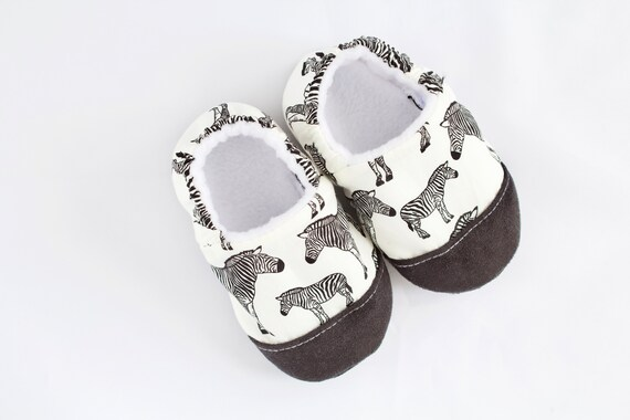 Zebra Print baby shoes, pre walkers and toddlers, first shoes with toe cap