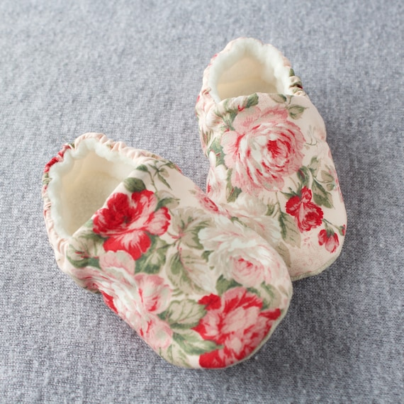 large pink rose with Pink background Baby Girl Shoes Hand Made In England