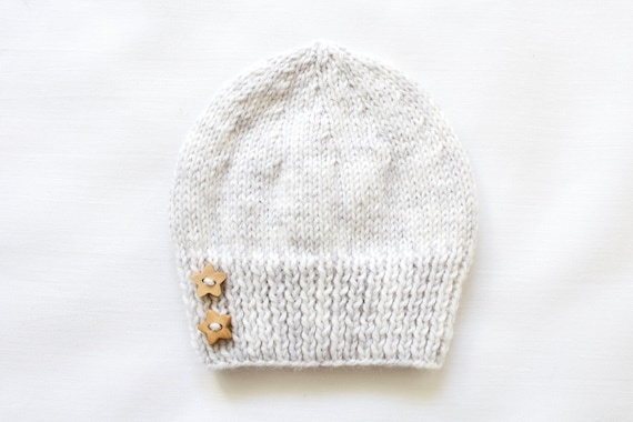 Grey hand knitted baby hat