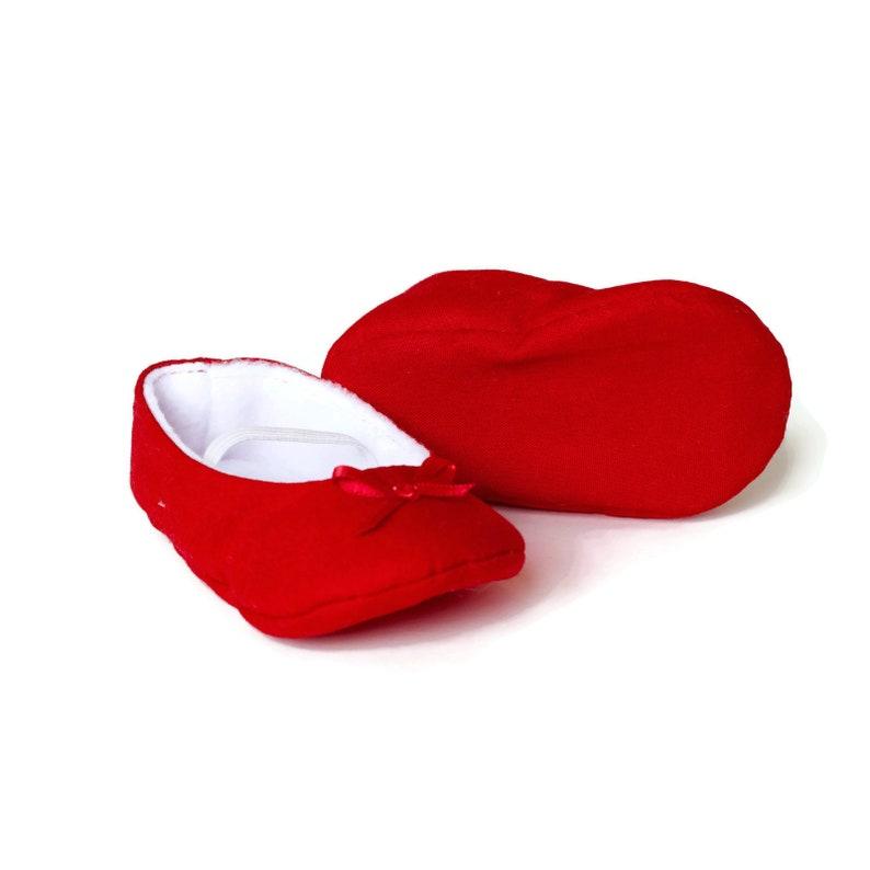 e2ed1a4a98b0c Baby girl shoe, baby shoe ballet flat, red baby girl shoe, girls cotton  shoe, baby ballet flat. Red cotton ballet flats.