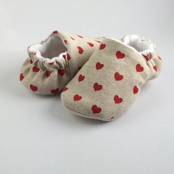 Little love hearts, baby girl linen soft sole pre walker shoes