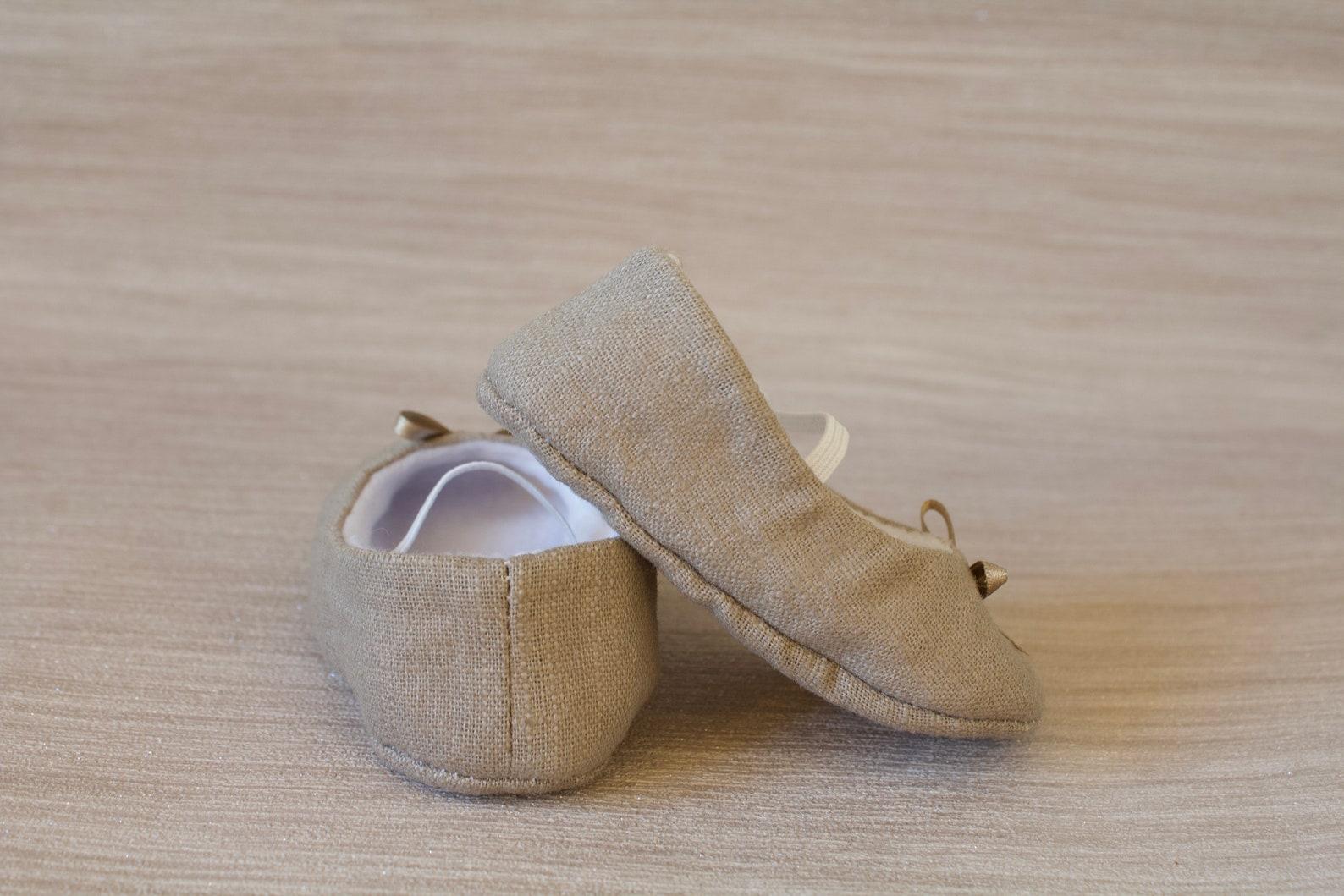 baby girl shoe, baby shoe ballet flat, taupe baby girl shoe, girls taupe linen shoe, baby ballet flat.