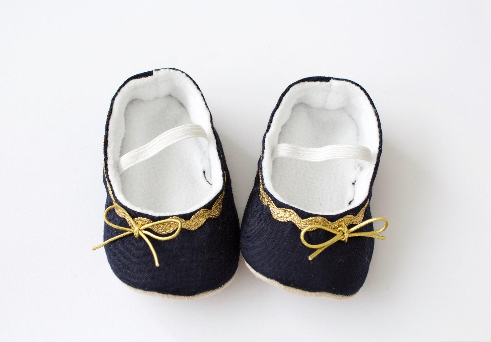 baby girl shoe, baby shoe ballet flat, navy baby girl shoe, girls shoe, baby ballet flats navy with gold trim
