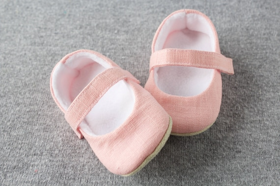 Pink pure linen shoes feature a cosy fleece lining. MaryJane pre walker and toddler shoes baby shower gift