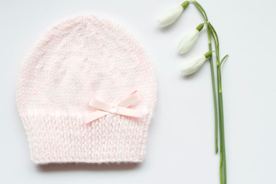 Baby pink girls hat with satin bow