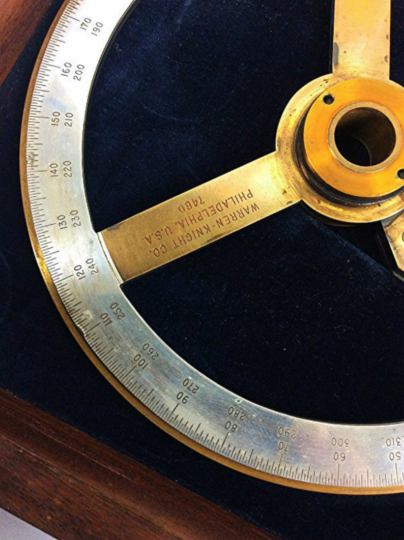 Antiques Maritime Navigational Instruments Wwii Vintage Us Navy 1941 Warren Knight Right Hand Three Arm Protractor In Case