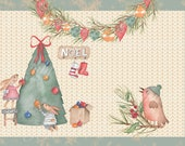 A Bunny Christmas, printable junk journal kit, paper and ephemera, 20 pages