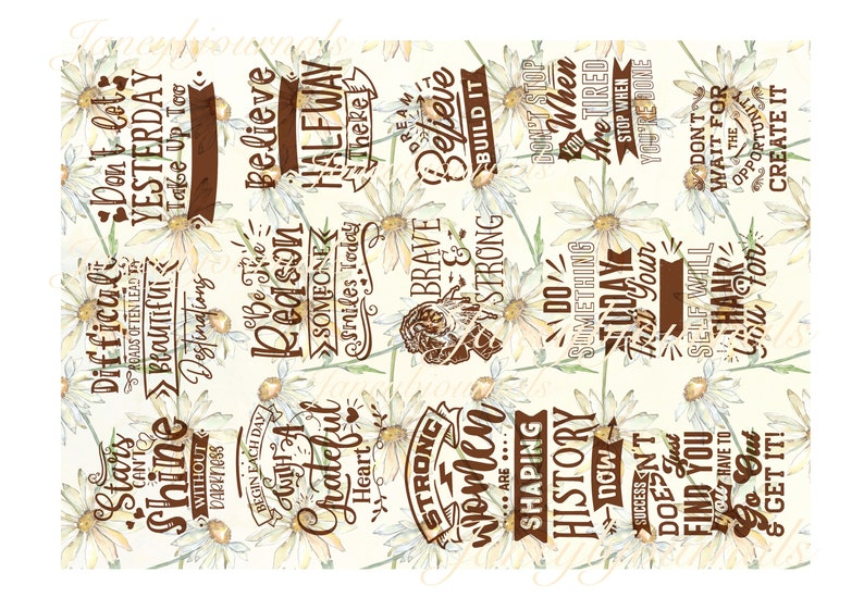 a 10 page junk journal printable kit journal cards envelopes, Daisies papers