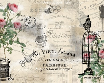Junk journal kit printable papers and ephemera,Sewing and roses popular 20 PAGES vintage, shabby chic,digital download