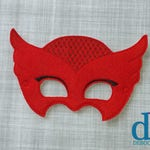 Red Owl Felt Embroidered Mask - Kid & Adult - Pretend Play - Halloween Costume