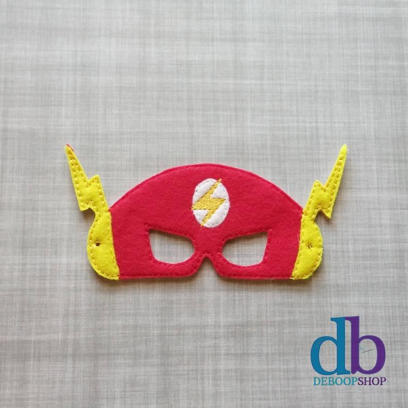 Flash Hero Felt Embroidered Mask  Kid & Adult  Pretend Play image 0